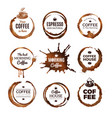 coffee rings labels badges design with circles vector image vector image