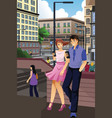 couple checking on their phones in the city vector image