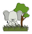 cute elephant in landscape vector image vector image
