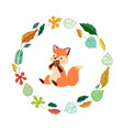 cute fox and autumn leaves round frame cartoon vector image