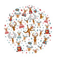 cute reindeer sticker icon set round design vector image vector image