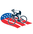 cyclist riding racing bike set inside oval vi vector image vector image