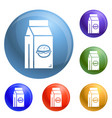 fast food lunchbox icons set vector image