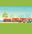freight train cargo cars vector image