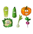 Happy colorful fresh cartoon vegetables vector image vector image