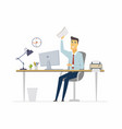 happy office worker - modern cartoon people vector image vector image