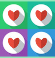 heart set colored icons flat design vector image vector image