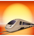 High-speed train with big sun over background vector image vector image