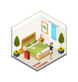hotel room cleaning isometric cleaning service vector image vector image