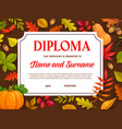 kids diploma certificate with autumn leaves vector image vector image