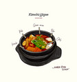 korean traditional kimchi soup in a clay pot vector image vector image