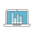 laptop with buildings cityscape scene vector image