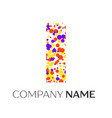 letter i logo with purple yellow red particles vector image vector image