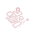 On-line Map Part With Marked Destination vector image vector image