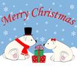 Polar bears and christmas presents vector image vector image