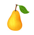 realistic yellow pear isolated on white background vector image vector image