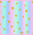 seamless pattern with gold stars on holographic vector image vector image