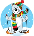 small polar bear on skis and wearing a scarf vector image vector image