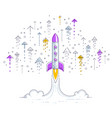 startup rockets take off space rockets flying vector image vector image