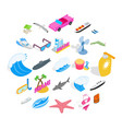 strand icons set isometric style vector image vector image