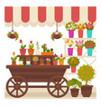 trade tent with natural flowers in pots vector image vector image