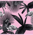 tropical leaves seamless flamingo background vector image vector image