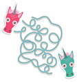 Unicorn labyrinth game for Preschool Children vector image