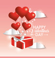 valentine present gift with hearts balloons vector image vector image