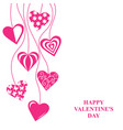 valentines day card with hang decorative hearts vector image vector image