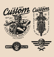 vintage monochrome motorcycle labels vector image vector image