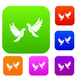 wedding doves set collection vector image vector image