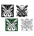 Wild wolves in celtic style vector