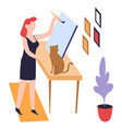 woman painter painting hobcanvas and paintbrush vector image