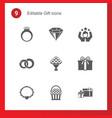 9 gift filled icons set isolated on icons set