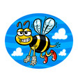 a cute smiling flying bumblebee vector image vector image