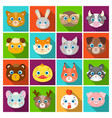 animal muzzle set icons in flat style big vector image vector image