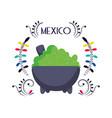 avocado in mortar floral decoration mexican food vector image vector image