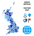 blue triangle great britain map vector image