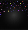 colorful confetti falling and ribbons on black vector image vector image