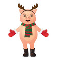 cute pig with deer horns cartoon character vector image vector image