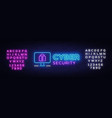 cyber security neon signboard internet vector image vector image