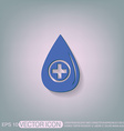 drop with a cross medical symbol of liquid vector image