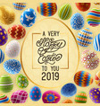 easter background with greeting and painted eggs vector image vector image