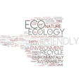eco-friendly word cloud concept vector image vector image
