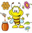 funny bee cartoon vector image vector image