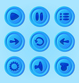 game ui - set blue buttons for mobile game or app vector image vector image