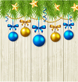 Green fir branches stars and blue baubles vector image vector image