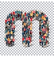 group people shape letter M Transparency vector image