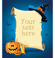 Halloween blue banner with empty paper scroll