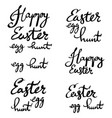 happy easter egg hunt strokes lettering written vector image vector image